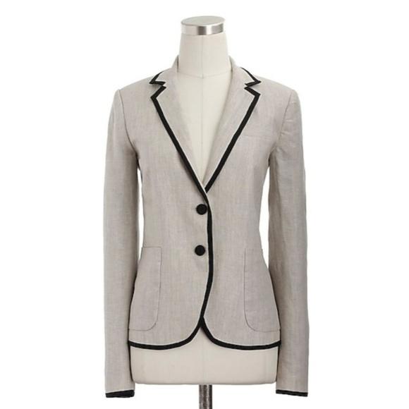 J.Crew Collection Women Size 2 Jacket Blazer Schoolboy Classic Tipped Linen